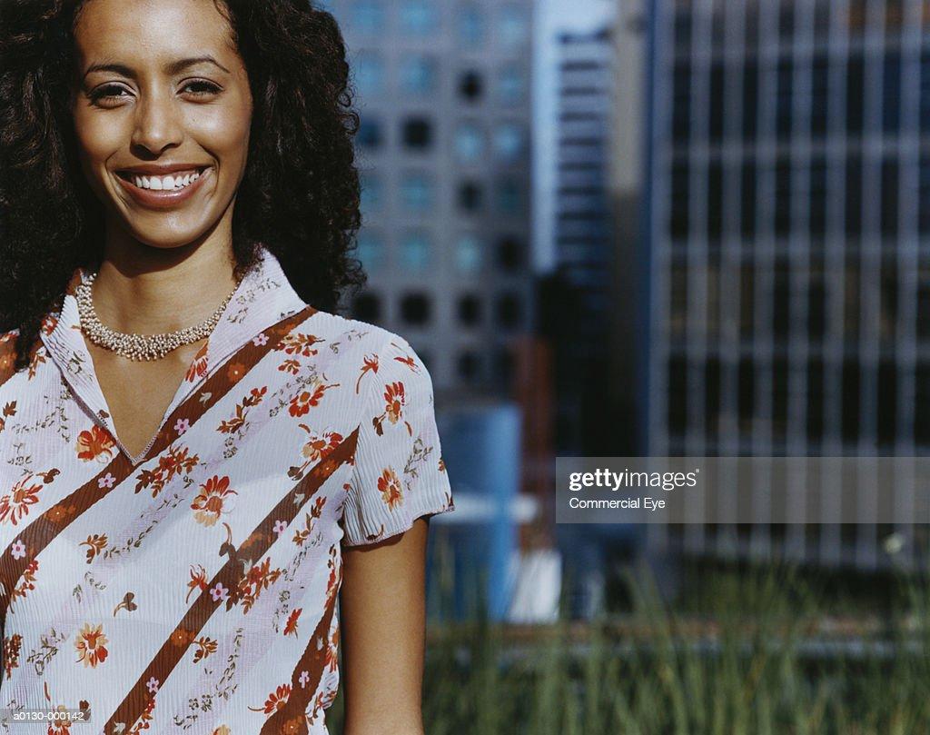 Smiling City Businesswoman : Stock Photo