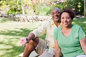 Smiling couple in garden