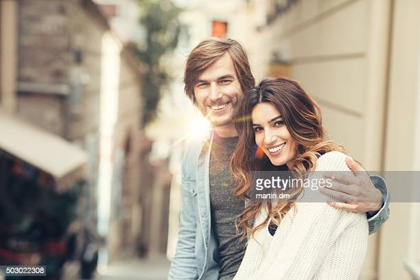 Smiling couple outside