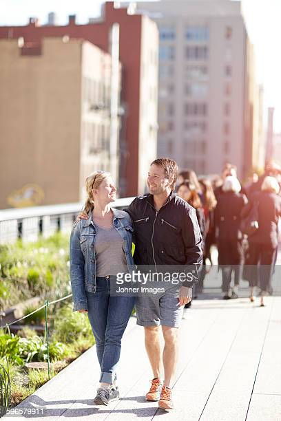 Smiling couple walking together