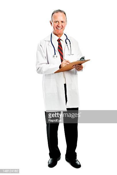 Smiling doctor making notes