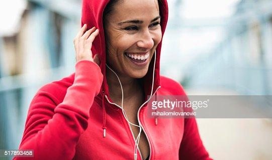 Smiling during workout