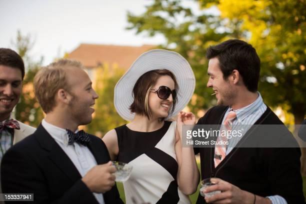 Smiling, elegant, Caucasian couple