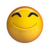 Smiling emoji. 3d rendering emoticon isolated on white background