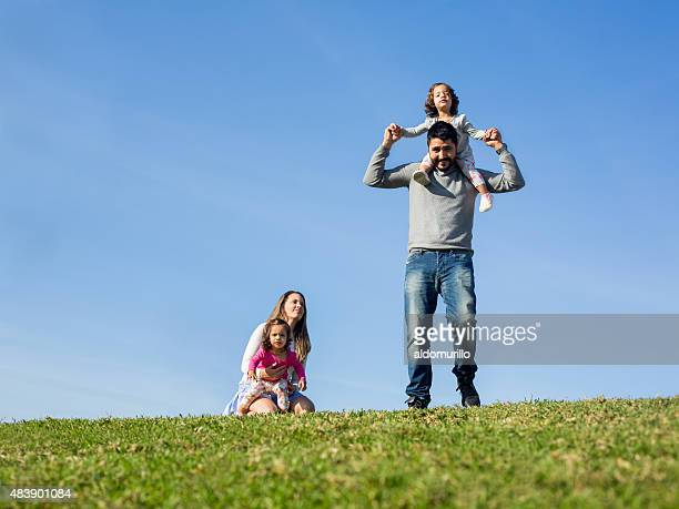 Smiling family enjoying