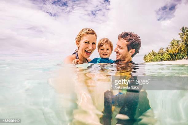 Smiling family selfie