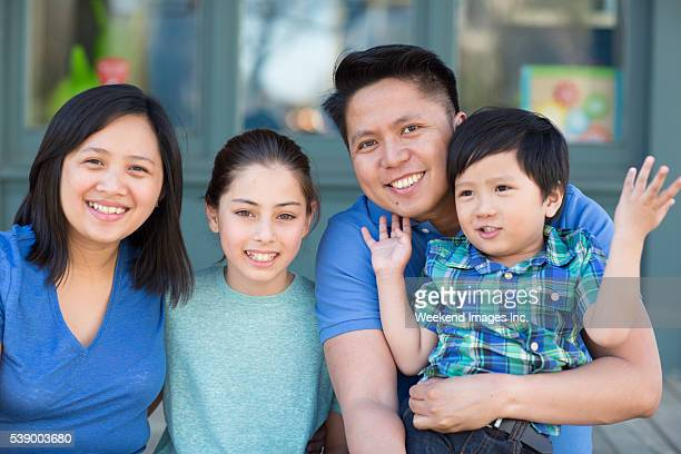 Smiling family with kids
