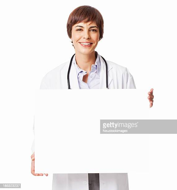 Smiling Female Doctor Holding a Blank Sign - Isolated