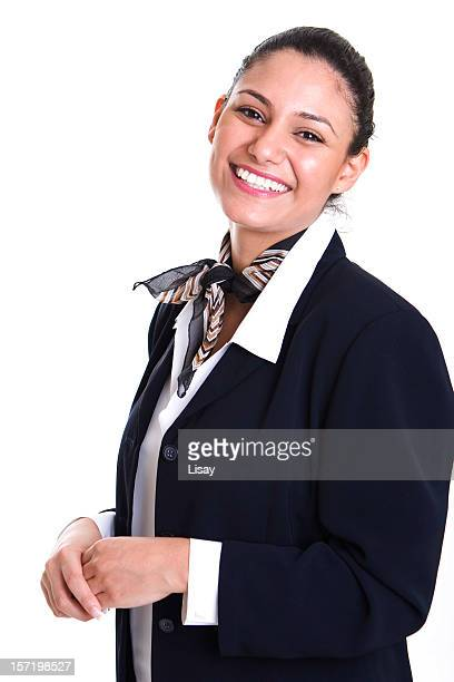 Smiling Female Service Representative Wearing Blue Blazer