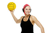 Smiling female swimmer throwing the waterpolo ballhttp://www.twodozendesign.info/i/1.png