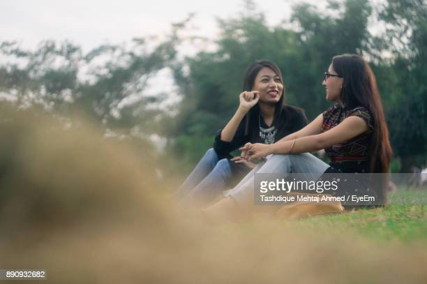 Smiling Friends Sitting On Field Against Sky