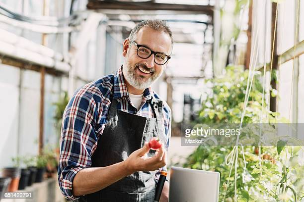 Smiling gardener with digital tablet holding tomato in greenhouse
