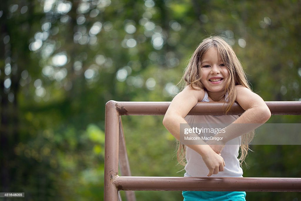 Smiling Girl at a Park : Stock Photo