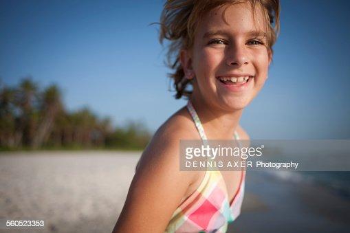 Smiling girl at Naples Beach Florida