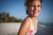 Smiling girl at Naples Beach Florida
