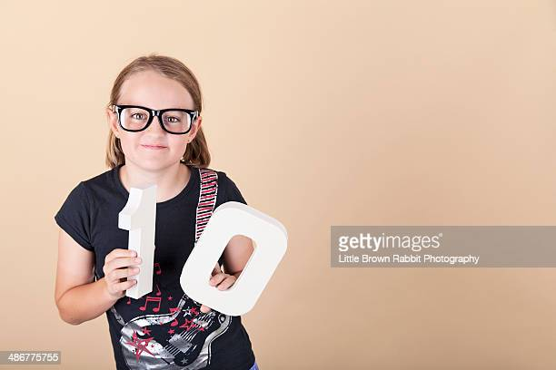 Smiling Girl is 10 and Wearing Geek Glasses