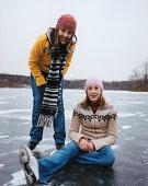 Smiling Girls on Frozen Lake
