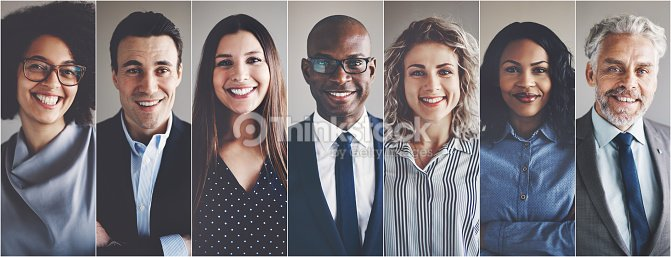 Smiling group of ethnically diverse businessmen and businesswomen : Foto de stock