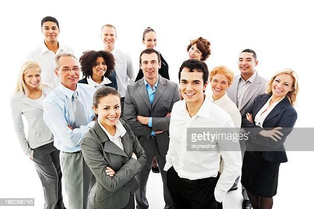 笑顔の成功のビジネス人々のグループ