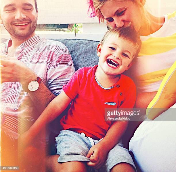 Heureux souriant famille