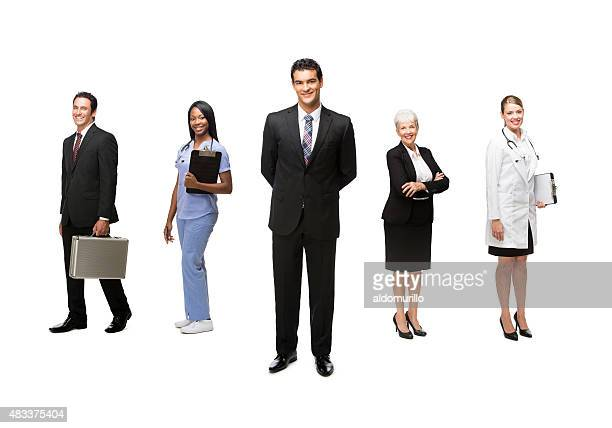 Smiling health and business workers