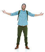 Smiling hipster standing with arms outstretchedhttp://www.twodozendesign.info/i/1.png