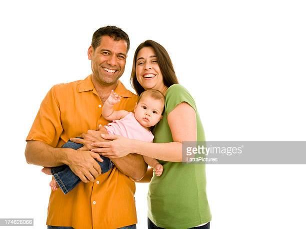 Ispanici sorridente coppia con Bambina (9-24 mesi