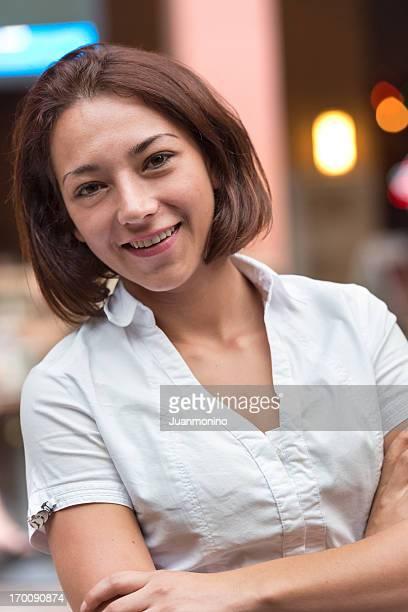 Smiling hispanic young woman