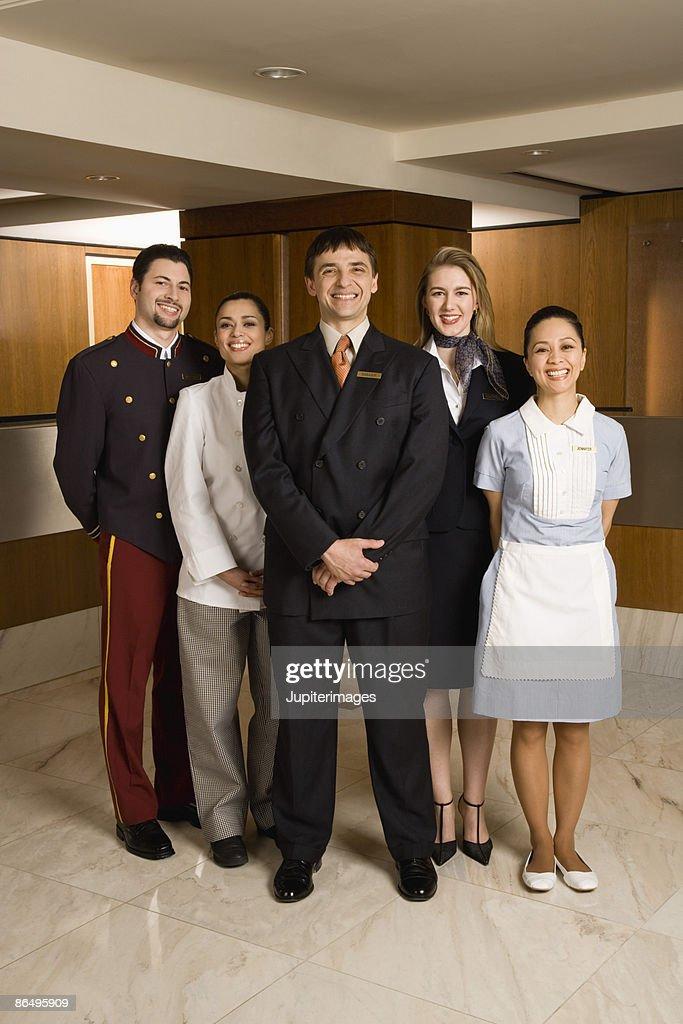 Smiling hotel staff