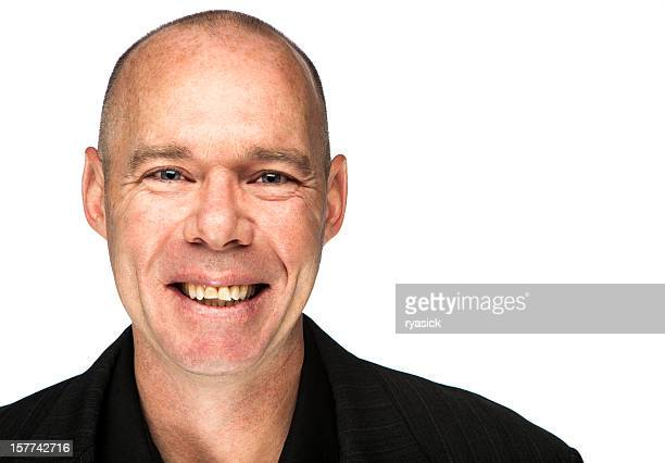Smiling Irish Man Portrait Isolated On White