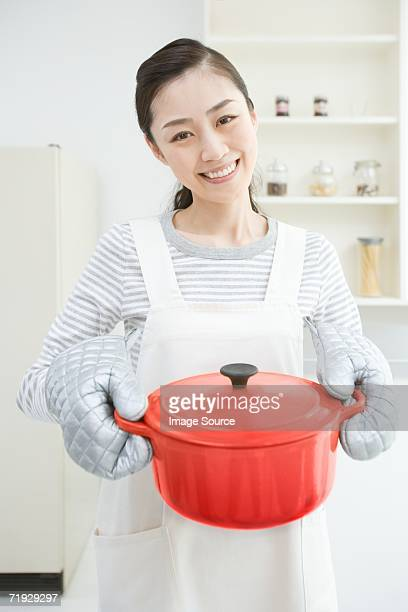 Smiling japanese housewife
