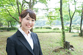Smiling job-hunting student in suit