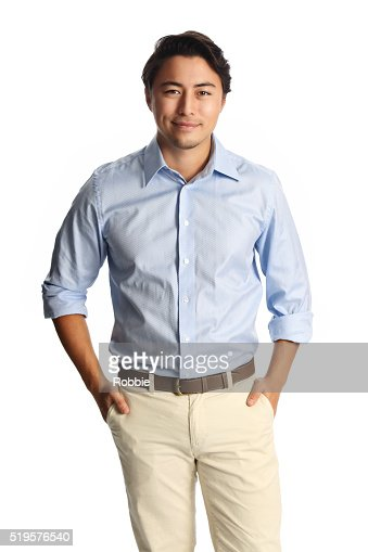Smiling laidback man in blue shirt : Stock Photo