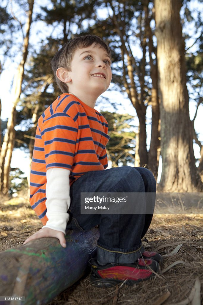 Smiling little boy sitting on a log in the forest. : Stock Photo