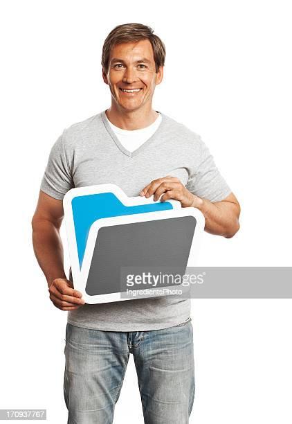 Smiling man holding folder sign isolated on white background.