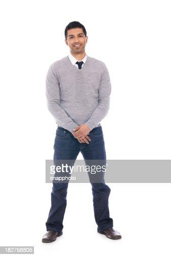 Smiling Man Isolated on White Background - Full Body