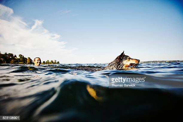 Smiling man swimming with dog on summer afternoon