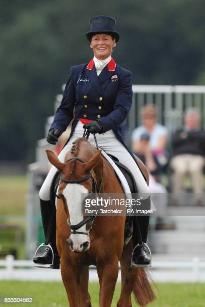 Smiling Mary King as she completes the dressage on Apache Sauce during The Festival of British Eventing at Gatcombe Park Gloucestershire