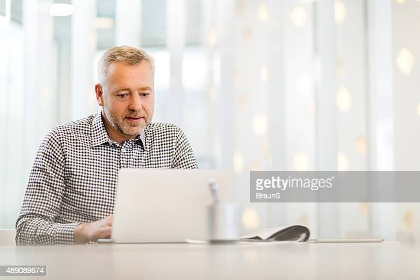 Smiling mature businessman working on laptop in the office.