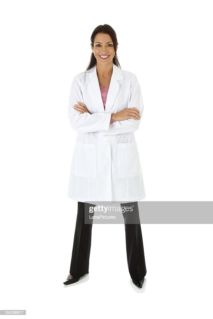 Smiling mid adult female wearing lab coat