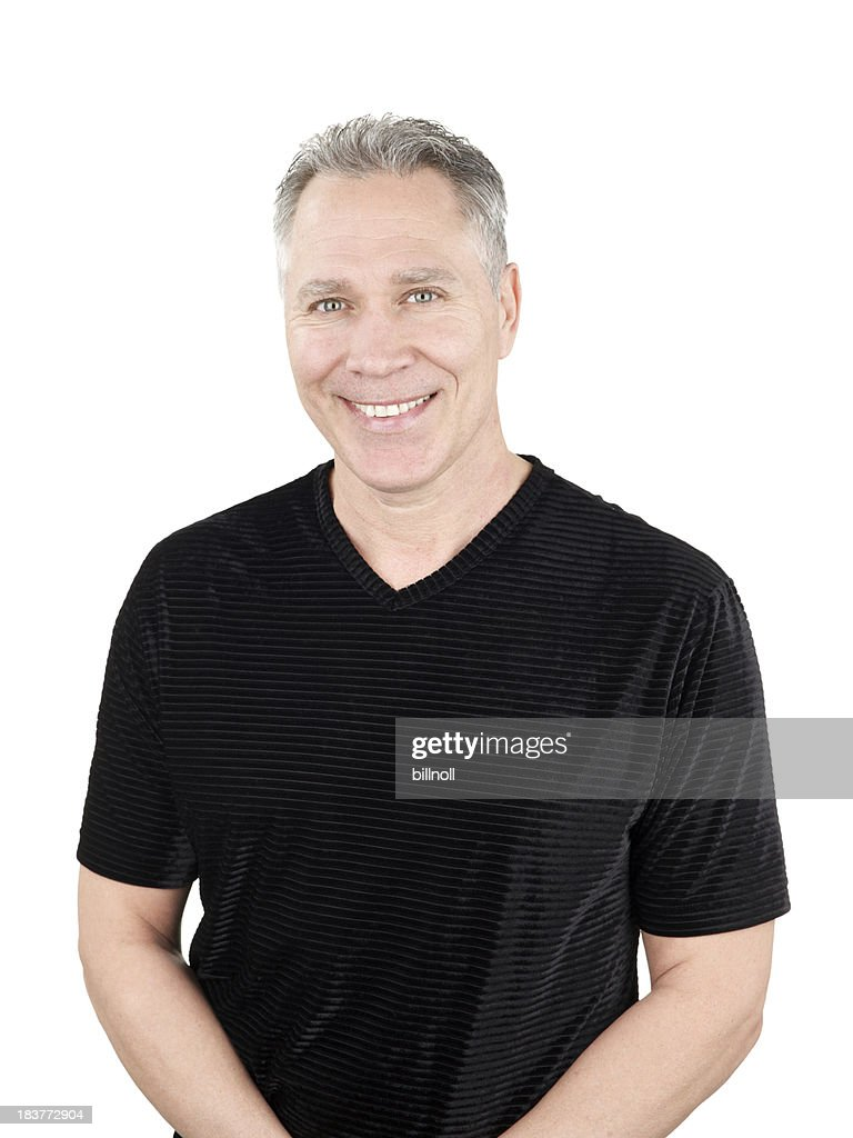 Smiling middle age man with black stripe shirt