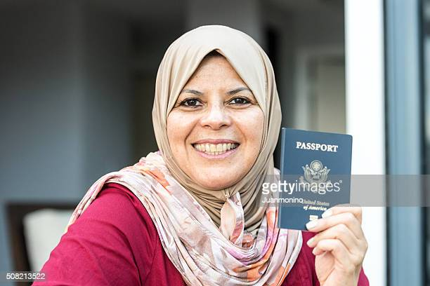 Smiling middle eastern woman