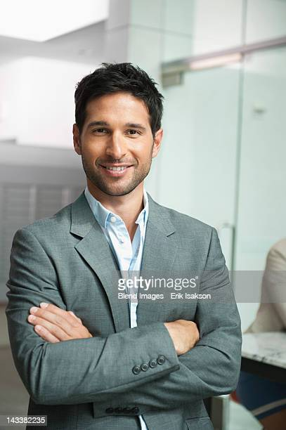 Smiling mixed race businessman