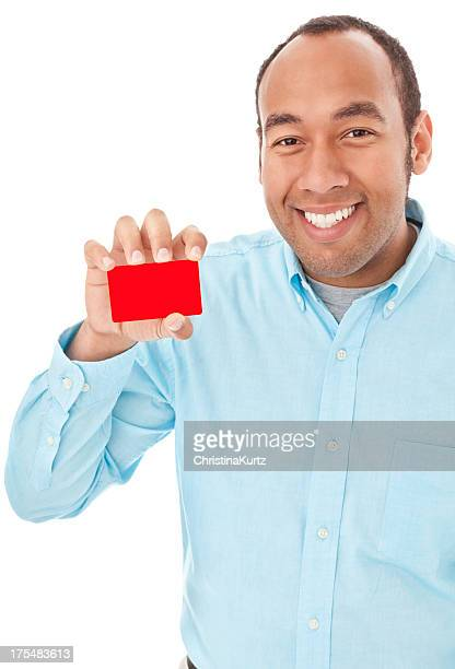 Smiling Mixed Race Man Holding Business or Credit Card