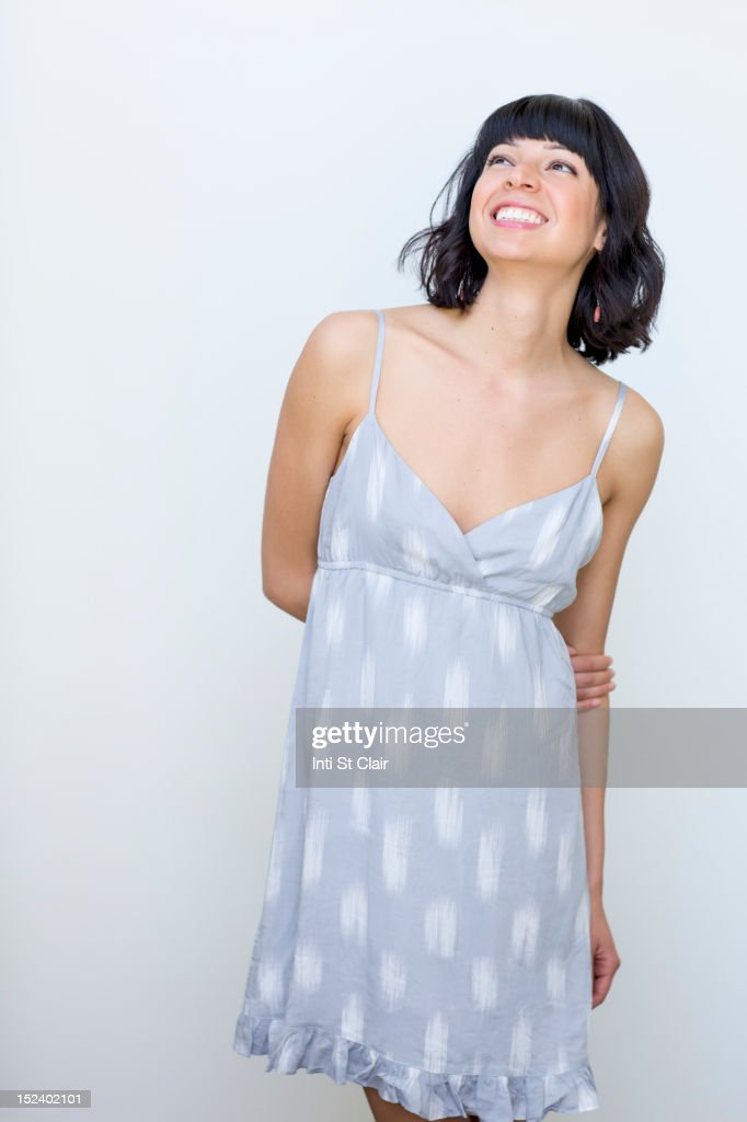 Smiling mixed race woman