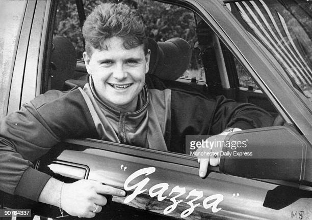 �A smiling Paul Gascoigne takes delivery of his brand new personalised Rover car Talks of a new contract but Gazza steers clear of questions about...