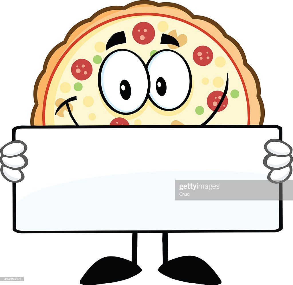 Cartoon Illustration Of A Smiling Pizza Slice Royalty Free ...