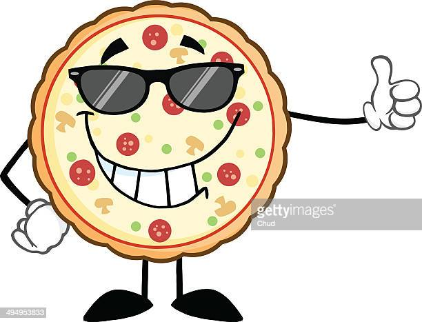 Smiling Pizza With Sunglasses Giving A Thumb Up