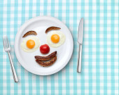 Smiling plate of breakfast on a tablecloth