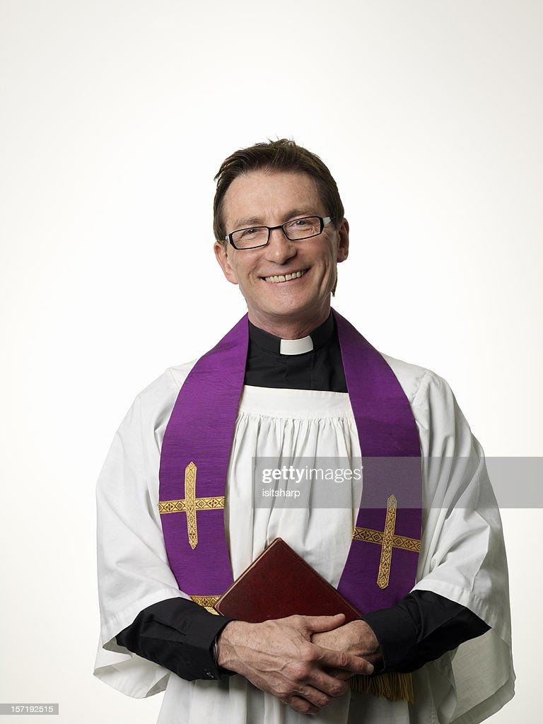 Smiling Priest : Stock Photo
